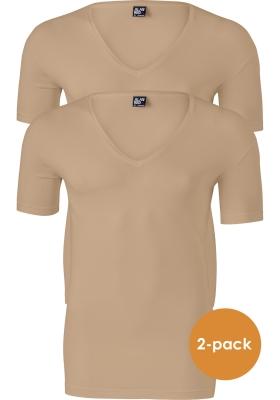 Alan Red Stretch T-shirts diepe V-hals (2-pack) No Neck, huidskleur