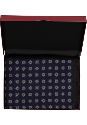 Michaelis heren sjaal in cadeauverpakking, blauw met grijs dessin
