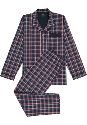 Gotzburg heren pyjama met knopen, blauw met rood en wit geruit