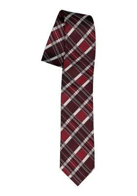 Pelucio stropdas, bordeaux rood geruit