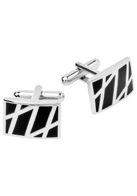 Manchetknopen zilver met zwart rechthoekig