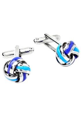 Manchetknopen zilver met blauw knoop