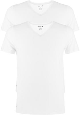 Lacoste heren stretch T-shirts (2-pack), regular fit V-hals, wit