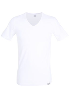 Gotzburg heren T-shirt slim fit V-hals 95/5 (1-pack), stretch ondershirt, wit