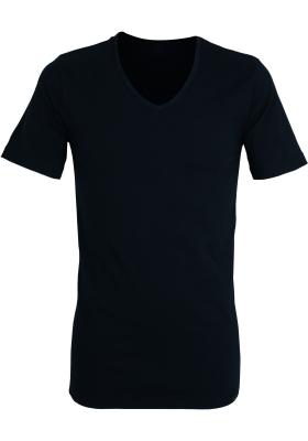 Gotzburg heren T-shirt slim fit V-hals 95/5 (1-pack), stretch ondershirt, zwart