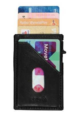Tony Perotti pasjes RFID portemonnee (6 pasjes) met buitenvak, zwart leer