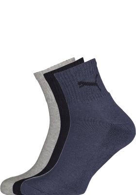 Puma unisex korte sportsokken (6-pack), navy, grijs en blauw