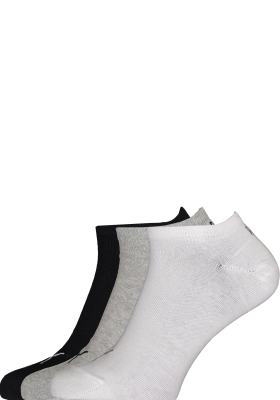 Puma unisex sneaker sokken (6-pack), wit, grijs en zwart