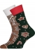Heren en dames Kerst cadeaubox: rode wijn met Many Mornings Gingerbread man Socks