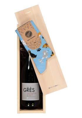 Heren en dames Kerst cadeaubox: rode wijn met Many Mornings Playful dog Socks