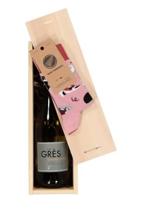 Heren en dames Kerst cadeaubox: witte wijn met Many Mornings Playful cat Socks