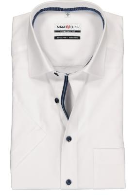 MARVELIS Comfort Fit overhemd, korte mouw, wit structuur (blauw gestipt contrast)