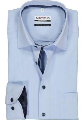 MARVELIS Comfort Fit overhemd, lichtblauw structuur (blauw gestipt contrast)