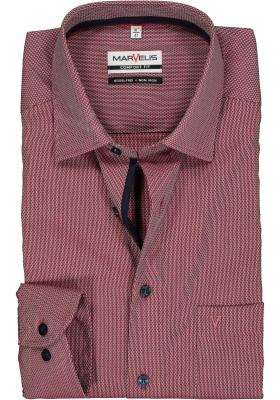 MARVELIS Comfort Fit overhemd, steenrood structuur (contrast)