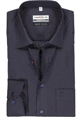 MARVELIS Comfort Fit overhemd, blauw met rood en wit gestipt