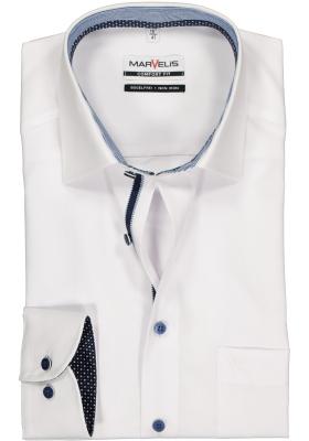 MARVELIS Comfort Fit overhemd, wit  (blauw gestreept en gestipt contrast)