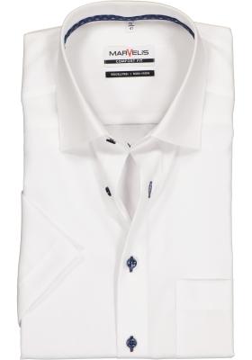 MARVELIS Comfort Fit overhemd, korte mouw, wit structuur (contrast)