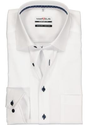 MARVELIS Comfort Fit overhemd, wit structuur (contrast)
