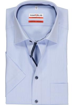 MARVELIS Modern Fit overhemd, korte mouw, lichtblauw structuur (blauw gestipt contrast)