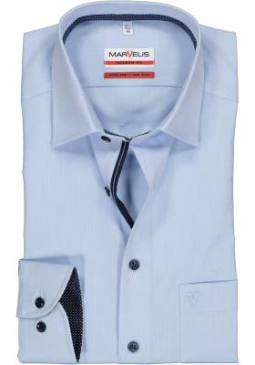 MARVELIS Modern Fit overhemd, lichtblauw structuur (blauw gestipt contrast)