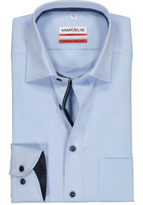 MARVELIS Modern Fit overhemd, mouwlengte 7, lichtblauw structuur (blauw gestipt contrast)