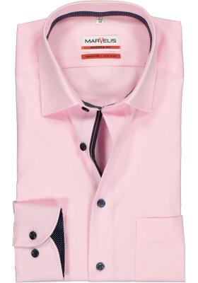 MARVELIS Modern Fit overhemd, mouwlengte 7, roze structuur (blauw gestipt contrast)
