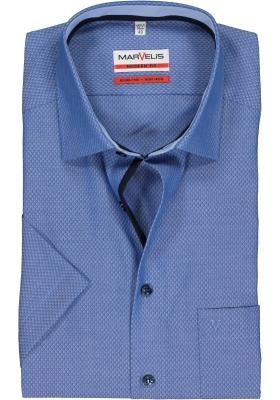 MARVELIS Modern Fit overhemd, korte mouw, donkerblauw structuur (contrast)