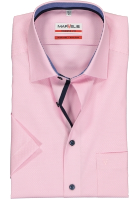 MARVELIS Modern Fit overhemd, korte mouw, roze structuur (contrast)