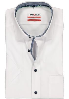 MARVELIS Modern Fit overhemd, korte mouw, wit  (dessin en structuur contrast)