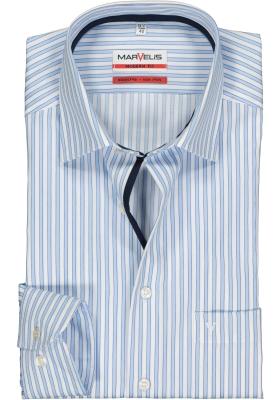 MARVELIS Modern Fit overhemd, blauw met wit gestreept (contrast)