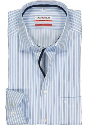 MARVELIS Modern Fit overhemd, mouwlengte 7, blauw met wit gestreept (contrast)
