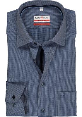 MARVELIS Modern Fit overhemd, mouwlengte 7, donkerblauw structuur (contrast)