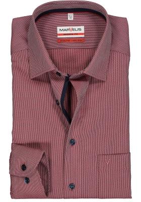 MARVELIS Modern Fit overhemd, mouwlengte 7, steenrood structuur (contrast)