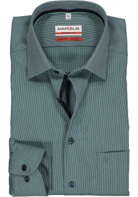 MARVELIS Modern Fit overhemd, mouwlengte 7, groen structuur (contrast)