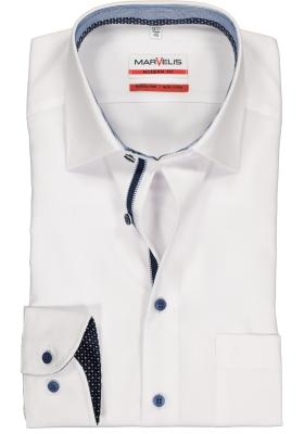 MARVELIS Modern Fit overhemd, mouwlengte 7, wit  (blauw gestreept en gestipt contrast)