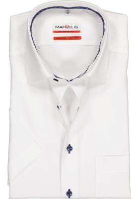 MARVELIS Modern Fit overhemd, korte mouw, wit structuur (contrast)