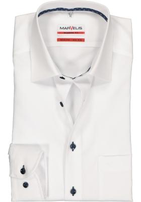 MARVELIS Modern Fit overhemd, wit structuur (contrast)