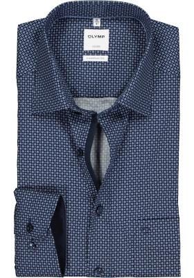 OLYMP Luxor comfort fit overhemd, donker- en lichtblauw dessin (contrast)