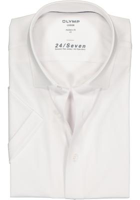OLYMP Luxor 24/Seven modern fit overhemd, korte mouw, wit tricot