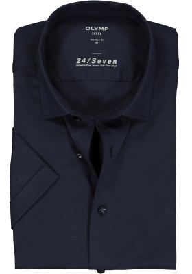 OLYMP Luxor 24/Seven modern fit overhemd, korte mouw, marine blauw tricot