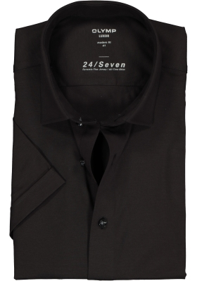 OLYMP Luxor 24/Seven modern fit overhemd, korte mouw, zwart tricot