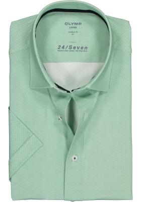 OLYMP Luxor 24/Seven modern fit overhemd, korte mouw, groen tricot mini dessin