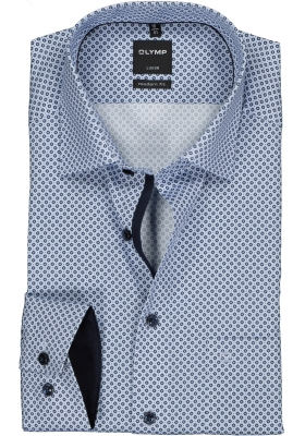 OLYMP Luxor modern fit overhemd, licht- en donkerblauw dessin (contrast)