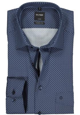 OLYMP Luxor modern fit overhemd, donker- en lichtblauw dessin (contrast)