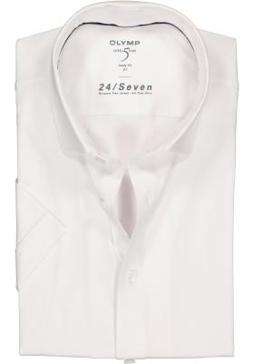 OLYMP Level 5 24/Seven body fit overhemd, korte mouw, wit tricot