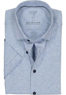 OLYMP Level 5 24/Seven body fit overhemd, korte mouw, lichtblauw tricot