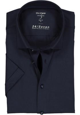 OLYMP Level 5 24/Seven body fit overhemd, korte mouw, marine blauw tricot