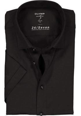 OLYMP Level 5 24/Seven body fit overhemd, korte mouw, zwart tricot