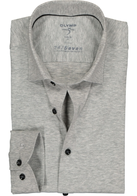 OLYMP Level 5 24/Seven body fit overhemd, zilvergrijs tricot