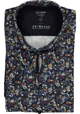OLYMP Level 5 24/Seven body fit overhemd, korte mouw, marine blauw tricot gebloemd